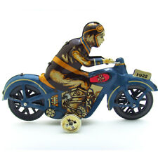 Wind Up Man Riding Motorcycle Clockwork Metal Tin Toys Collectible