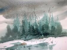 """OKLAHOMA SNOW"" original watercolor by American artist Micheal Jones"