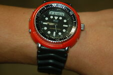 seiko h558 RED  DURABLE PLASTIC shroud  digital analog diver tuna
