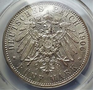 5 Mark 1906A German States PRUSSIA Wilhelm II AU58 ANCS Only 230,963 Ultra Rare!