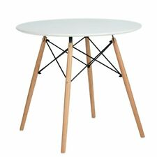 80cm Retro Round Dining Table with Solid Wooden Leg Lounge Kitchen Dining Room