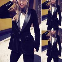 Velvet Black Pant Suits Women Ladies Business Office Tuxedos Work Wear Formal