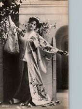 Woman in Floral Embroidered Kimono Theater Costume Early 1900s European RPPC