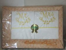 Vintage New 1960s Mr. & Mrs. Embroidered Pillow Cases Gloria Gray Wedding Gift