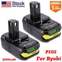 2x2.5AH 18V P102 Max Lithium Battery For Ryobi 18V One Plus P103 P108 Power Tool