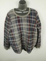 WOMENS GREY M&S INDIGO COLLECTION CHECKED SOFT WOOL PATTERNED JUMPER SHORT SZ 14