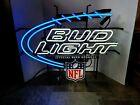 BUD LIGHT BEER NFL FOOTBALL NEON LIGHT UP SPORTS BAR SIGN GAME ROOM MAN CAVE