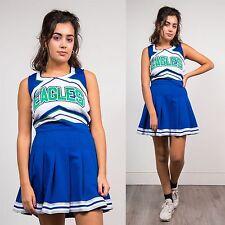 WOMENS VINTAGE BLUE USA CHEERLEADER TOP SLEEVELESS HIGH SCHOOL VARSITY 10