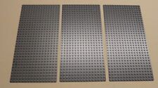 x3 New Lego Gray Baseplates Base Plates Brick Building 16 x 32 Dots Bluish Gray