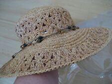 Womens Natural SCALA Straw Sun HAT Floppy Beach Wired WIDE BRIM Beaded BoHo