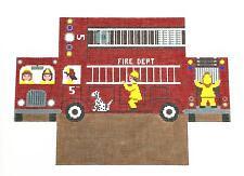 SO ~~ Fire Truck Brick Cover Door Stop handpainted Needlepoint Canvas S.Roberts