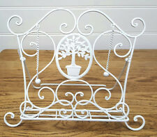 French Provincial Iron Recipe Book Stand Holder White 34cmH Home Kitchen Decor