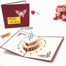 Creative 3D Hollow Birthday Cake Pops-up Handmade Birthday Greeting Cards DP