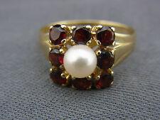 schöner alter Granat Ring Gold 333/- Perle