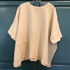 ESKANDAR Lagenlook Yellowstone Iconic Boxy Linen Top/Shirt Onesize