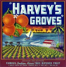 Harvey's Groves Fruit Crate Label Art Print   Indian River Cocoa Fl