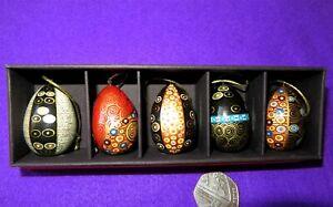 Christmas Tree Ornaments KLIMT EGGS Russian Doll Set 5 GOLD BLUE BLACK design