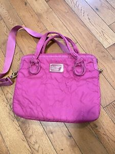 Marc Jacobs Workwear Laptop Bag Pink  Nylon Quilted Computer Messenger