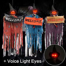 Halloween Decor Scary Tools Welcome Sign Home Hanging Skeleton Voice Light Eyes