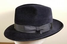 SELENTINO GALAXY 100% Genuine Velour Felt Dark Navy Fedora Hat Size 6 7/8- 55 cm