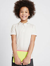 GIRLS SLIM FIT WHITE POLO SHIRT IN CHEST 41 INCH APPROX AGE 15-16 YEARS FROM M&S