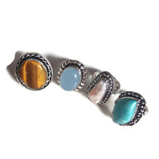 Wholesale Lot 4 PCs. Tiger Eye & Larimar 925 Sterling Silver Plated Ring Jewelry
