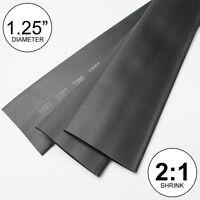 "1.25"" ID Black Heat Shrink Tubing 2:1 ratio 1-1/4"" wrap (2 feet) inch/ft/to 30mm"