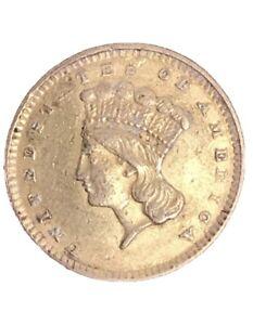 1856 Indian Princess Large Head gold One 1 dollar Coin US USA !!! Not Scrap