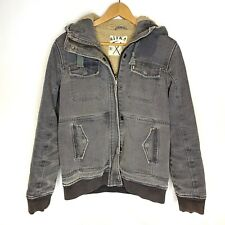 Sitka Washed Gray Denim Fleece Lined hooded jacket Size Small