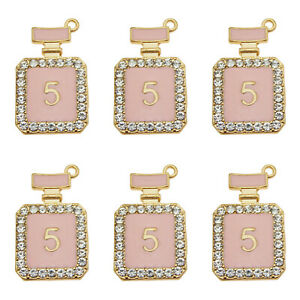 5pcs Gold Alloy Pink NO.5 Perfume Bottle Pendant Charms Jewelry 29*17*5mm 39235