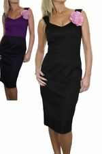 Ladies Fully Lined Event Pencil Dress with Flower Detail  8-14