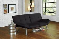 Convertible Simple Micro-Suede Black Contempo Futon Sofa Sleeper Bed
