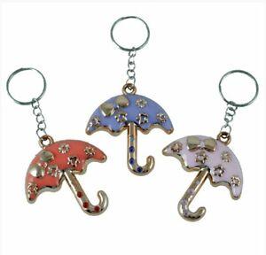 12 UMBRELLA KEY RINGS Metallic Chain Collectable Keyring Key Chain Holder Fun