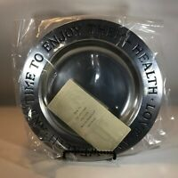 "Wilton Columbia PA - 9"" Armetale  Pewter  Health, Love and Wealth Bowl/Plate NIB"