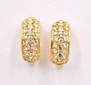 Swarovski Clear Crystal Rhinestone Huggie Clip On Earrings