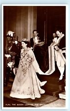 Pomp 1953 Queen Elizabeth Crowned Abbey Westminster Vintage Photo Postcard C85