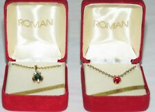 Two Vintage Costume Jewelry Necklaces, Green & Red Genuine Crystal