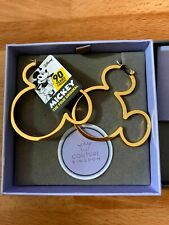 More details for new disney couture mickey mouse yellow gold plated large hoop earrings bnib