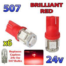 6 x RED 24v Capless Hella Spot Light 507 W5W 5 SMD T10 Wedge Bulbs HGV Truck
