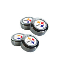 NFL Pittsburgh Steelers Plastic Chrome License Plate Frame Screw Caps Bolt Cover