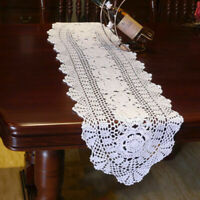 White Vintage Hand Crochet Doilies Table Mat Oval Lace Doily 12x47inch