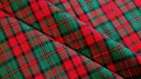 Green Metallic Christmas Red Tartan Plaid Homespun Cotton Doll Quilt Fabric