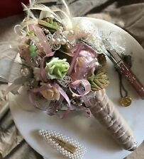 Dusky Pink & Green Velvet Bridal Bouquet Alternative Brooch Button Jewellery New