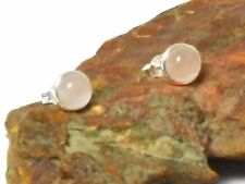 ROSE  QUARTZ   Sterling  Silver  925  Gemstone  Stud Earrings -  8 mm