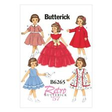 """Butterick Sewing Pattern 6265 Retro 18"""" Doll Clothes Dress"""
