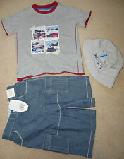 Boy summer bundle x 3 items t-shirt, shorts, hat  Next, Mini Mode 5-6 y some new