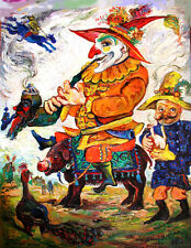 RUSSIAN SUMMER FABLE: JESTERS ENTER VILLAGE Early Rare Ari Roussimoff Painting