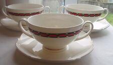 3 GORGEOUS HEINRICH VILLEROY & BOCH BONE CHINA CASTELLON CREAM SOUP BOWL SETS