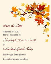 100 Personalized Ivory Fall Autumn Leaves Wedding Branch Save The Date Cards