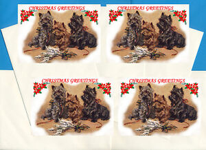 CAIRN TERRIER PACK OF 4 CARDS DOG PRINT GREETING CHRISTMAS CARDS